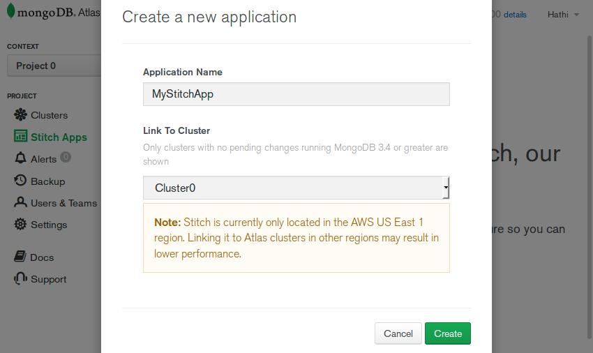 New Stitch app dialog