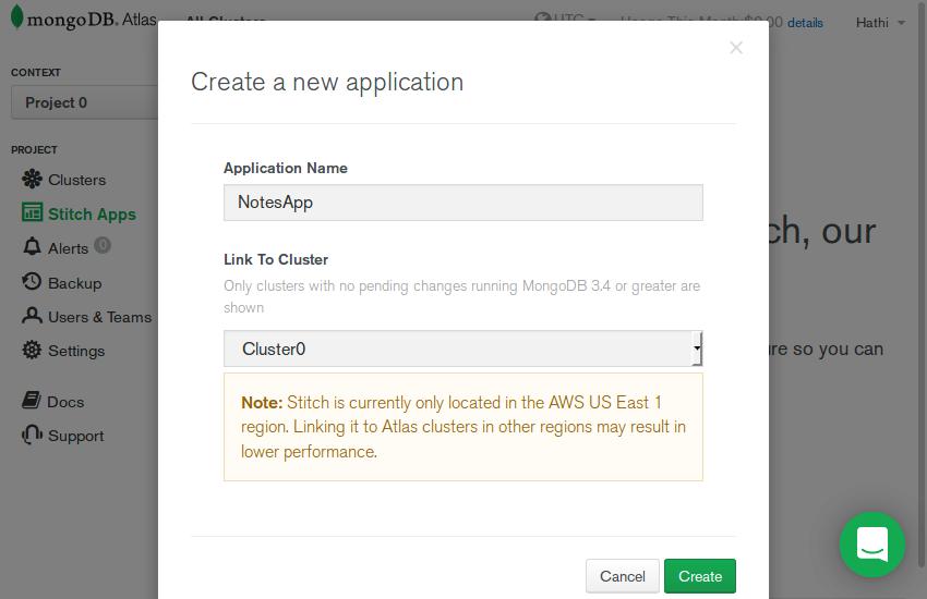 Stitch app creation dialog