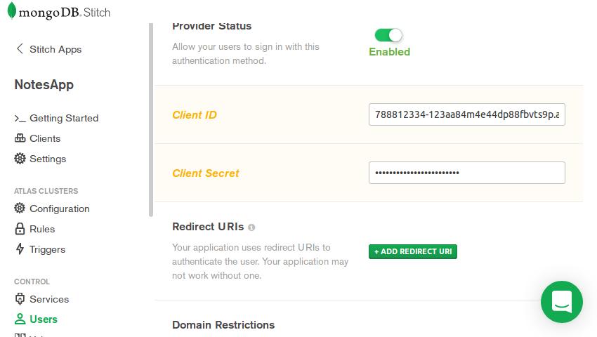 Provider configuration screen of Stitch admin console