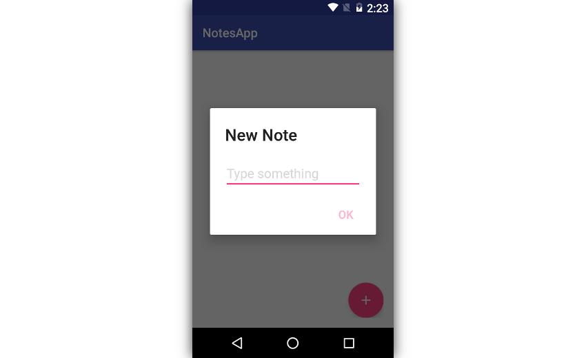 App showing input dialog