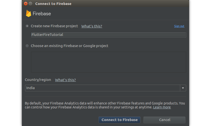 Connect to Firebase dialog