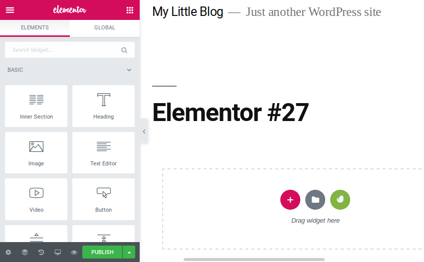 Elementor page editing interface