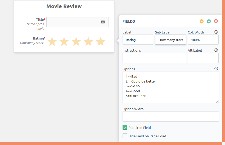 Configuring a star rating field