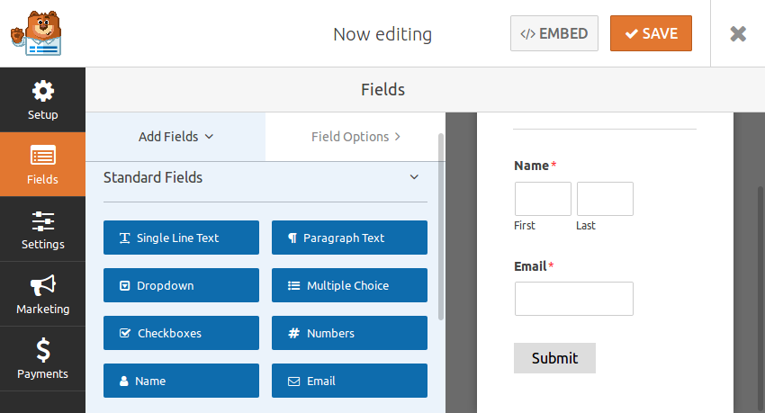 Creating form with two fields