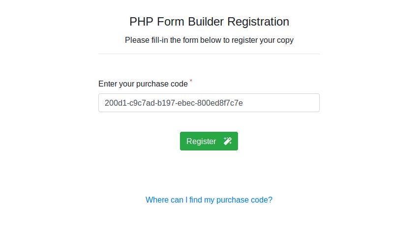 PHP Form Builder registration page
