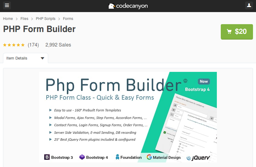 PHP Form Builder on CodeCanyon