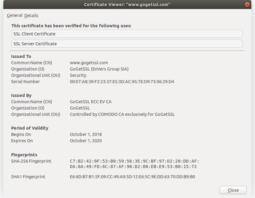 A sample SSL certificate