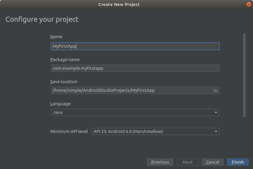 Configure your project screen