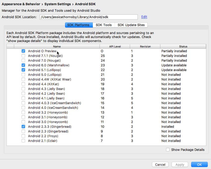 Open the Android SDK Manager and download the O Developer Preview