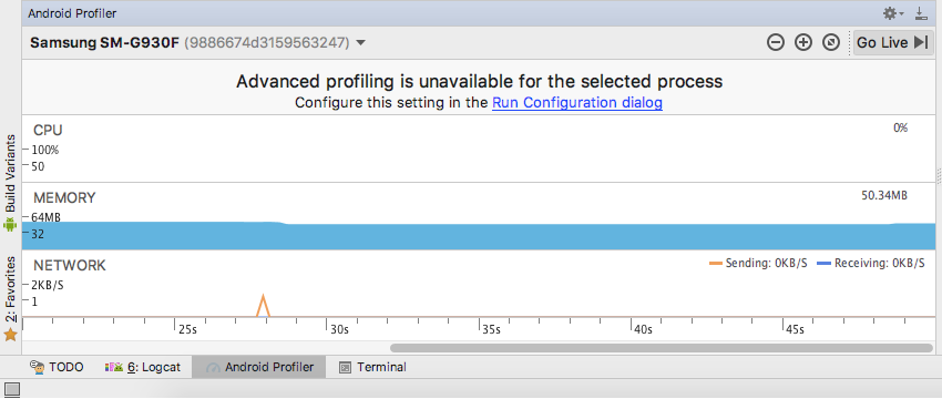 The Android Profiler tracks the apps CPU Memory and Network information automatically