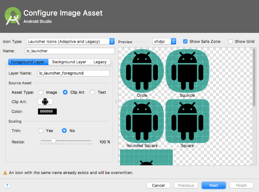 Android Studios Image Asset window will walk you through the process of creating an adaptive icon