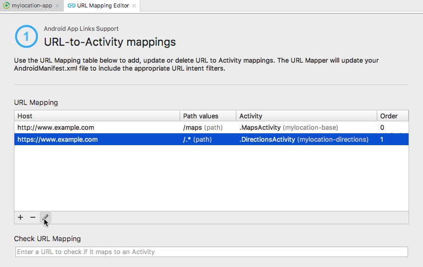 In the URL-to-Activity mappings editor select your DirectionsActivity