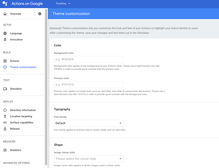 Create custom themes in Googles Actions console