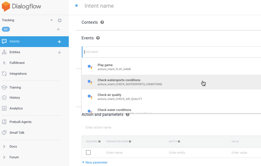 Open the Dialogflows Events dropdown and choose from a range of built-in intents