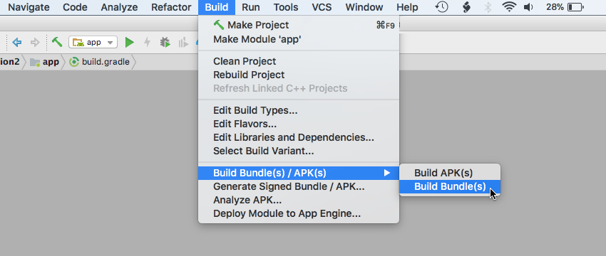 Select Build Build Bundles APKs Build Bundles from the Android Studio toolbar