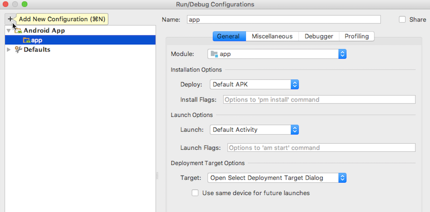 Create a run configuration by navigating to Run  Edit configurations    Android App