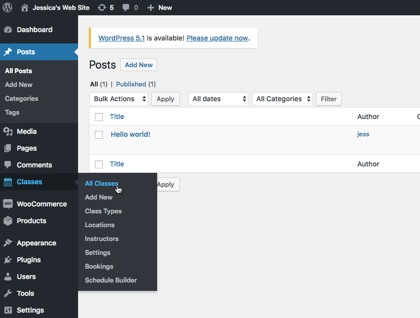 Create a new class by selecting Classes  Add new from the WordPress dashboard