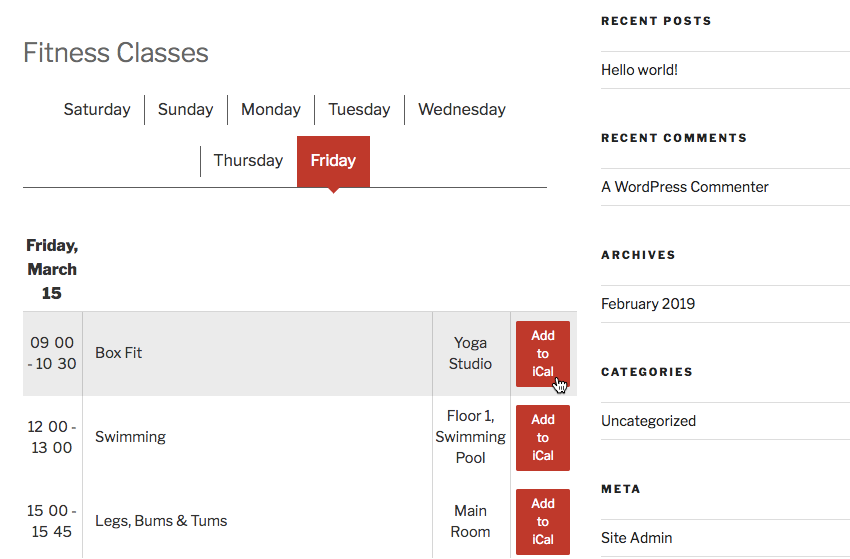 You can add a rang of CTA buttons to your schedule