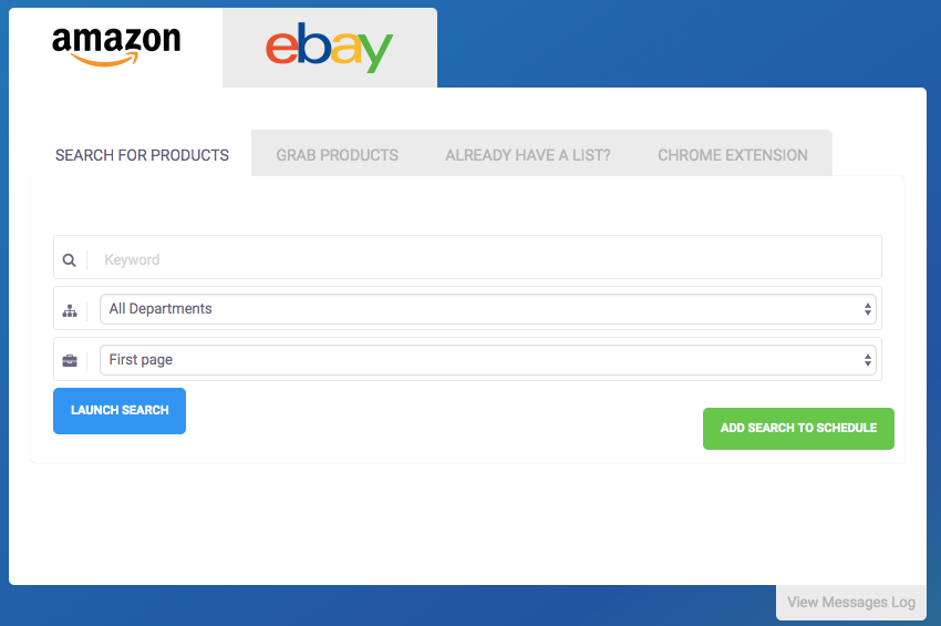 Select the Search for Products tab