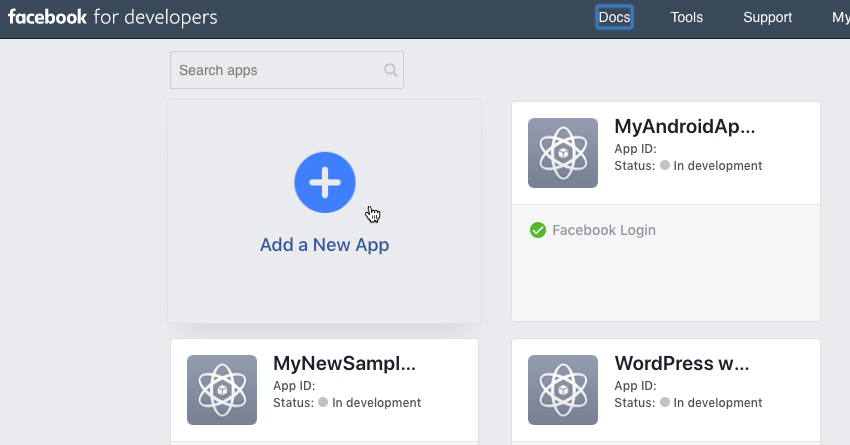 Head over to the Facebook for Developers website and click Add a New App