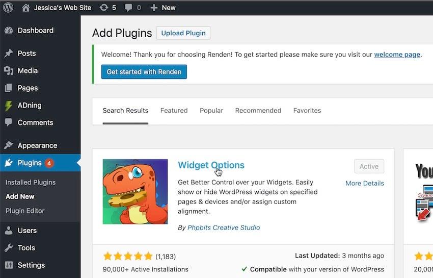 Install the free Widget Options plugin