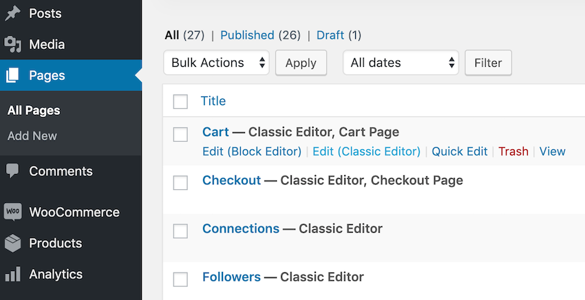 Hover over the page or post where you want to insert the search bar and select Edit Classic Editor