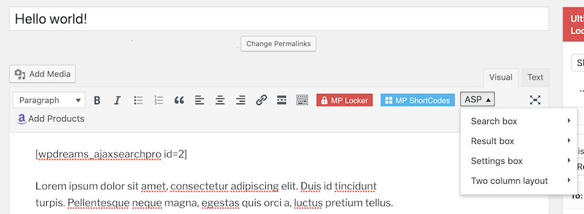 In the WordPress toolbar select the ASP button