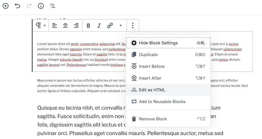 In the floating toolbar give the three-dotted icon a click and select Edit as HTML