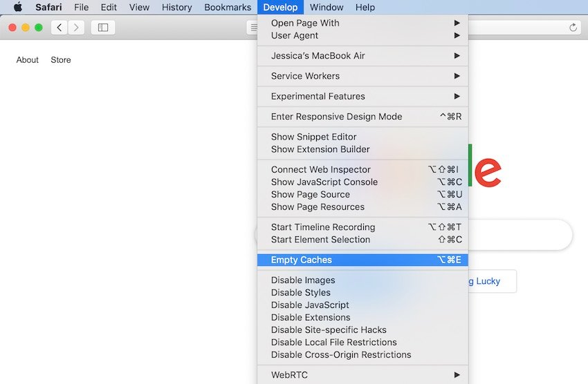 Clear the Safari cache by navigating to Develop  Empty Caches