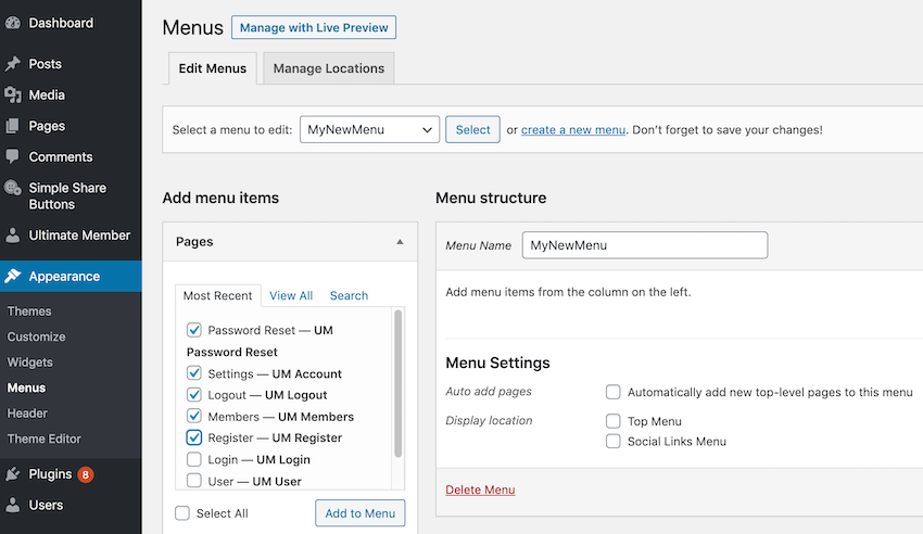 Help visitors navigate your website by adding a menu