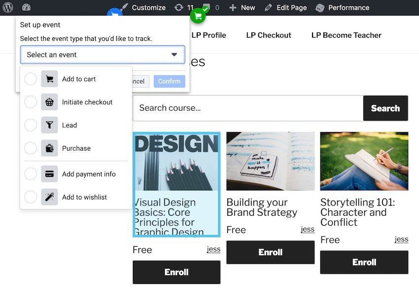 The Event Setup Tool allows you to assign various events to your websites buttons and other UI elements