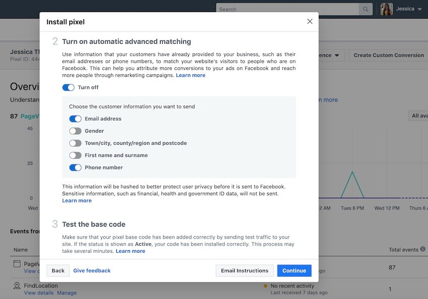 You can share data with Facebook by enabling automatic advanced matching