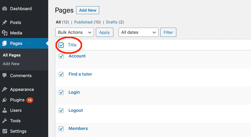 You can delete pages and posts en masse