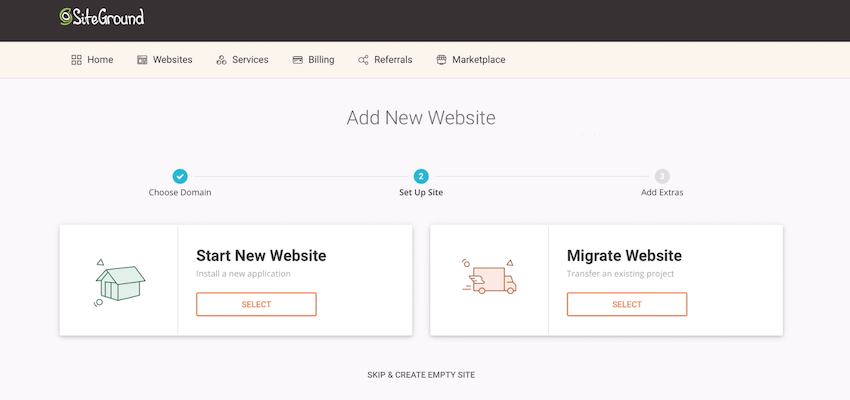 SiteGround lets you create a WordPress website in just a few clicks