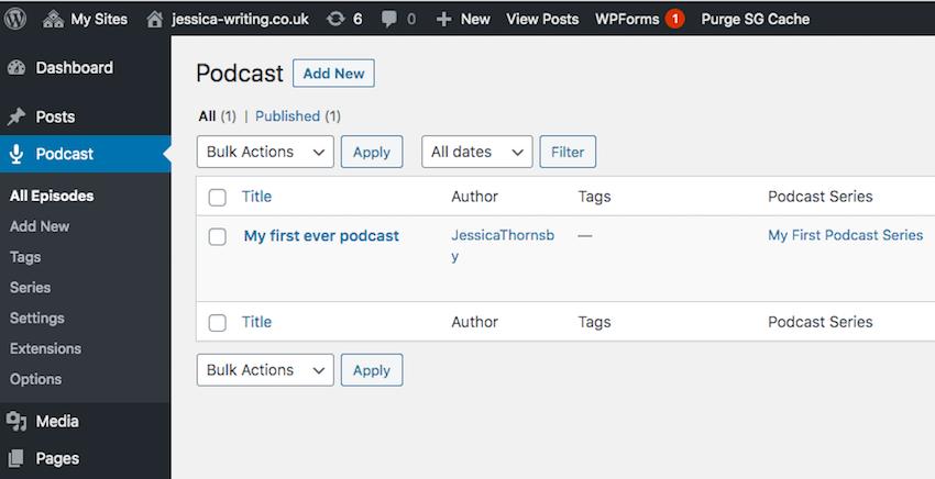 Podcast menu in WordPress