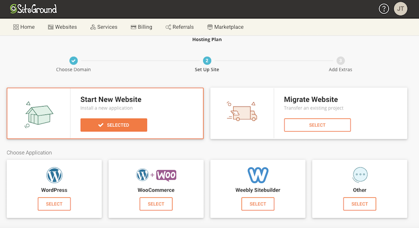 Choose application WordPress