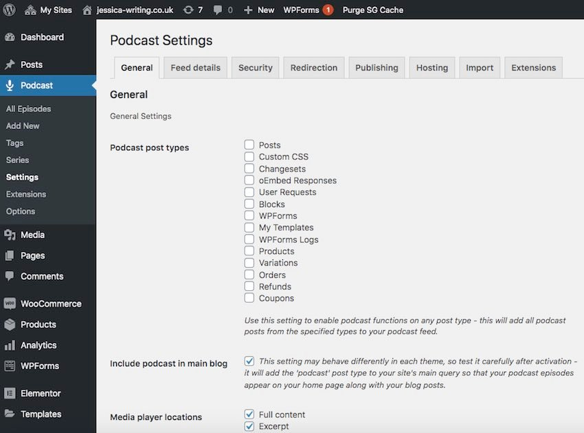 Podcast settings page