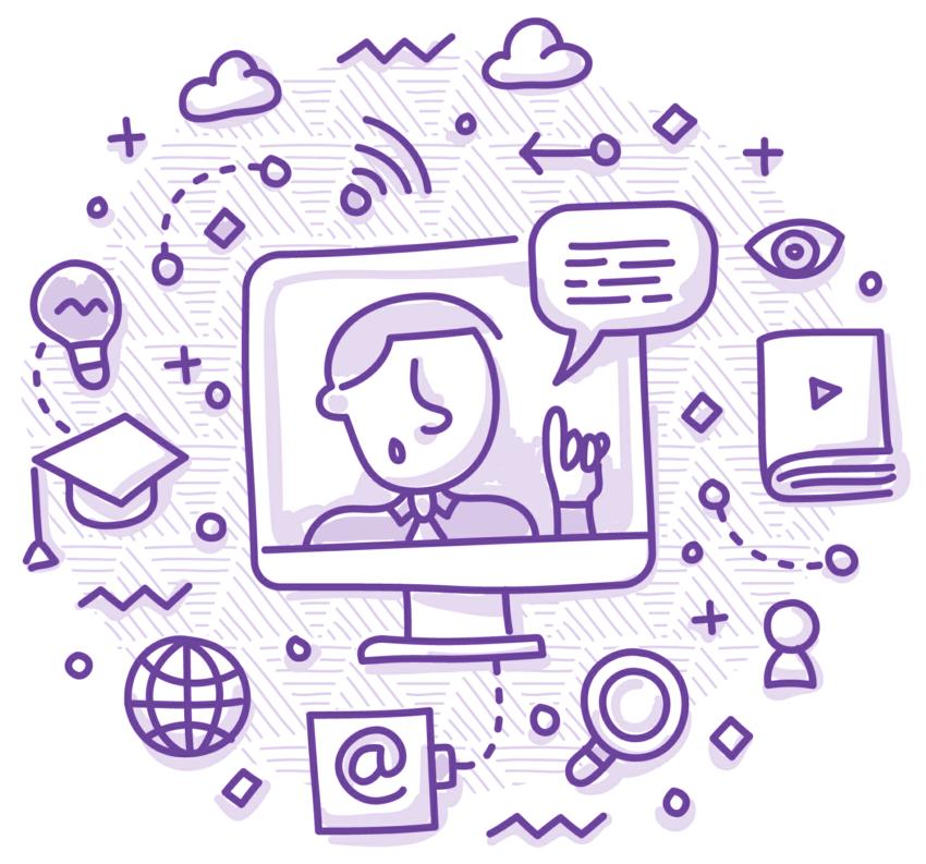 Online video lessons illustration