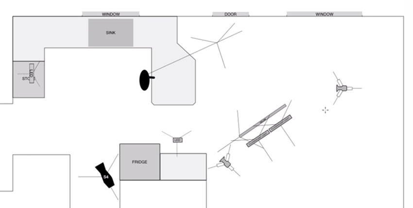 Final plan diagram of lighting sound cameras subject