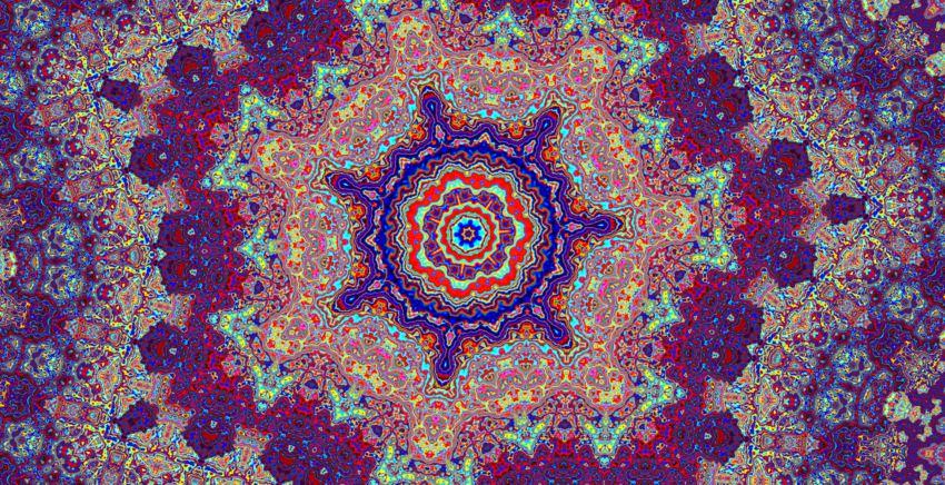 Kaleidoscopic art illustration Artsy psychedelic pattern design