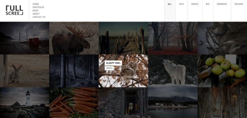 Fullscreen WordPress photography theme