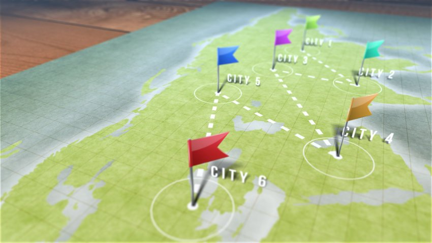 map with pins and flags marking points on a path