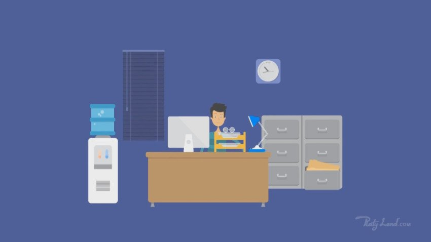 Man in office on blue background