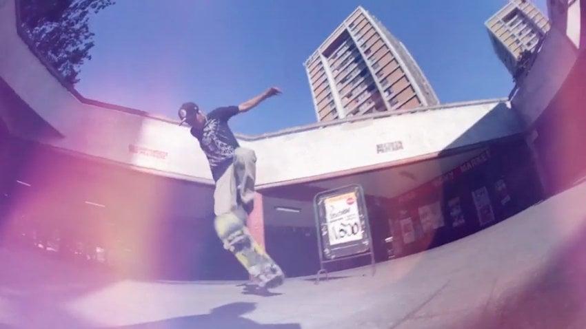 Skateboarder with light leaks