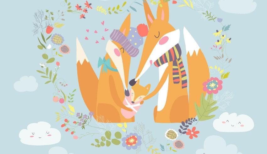 illustartion of a fox family