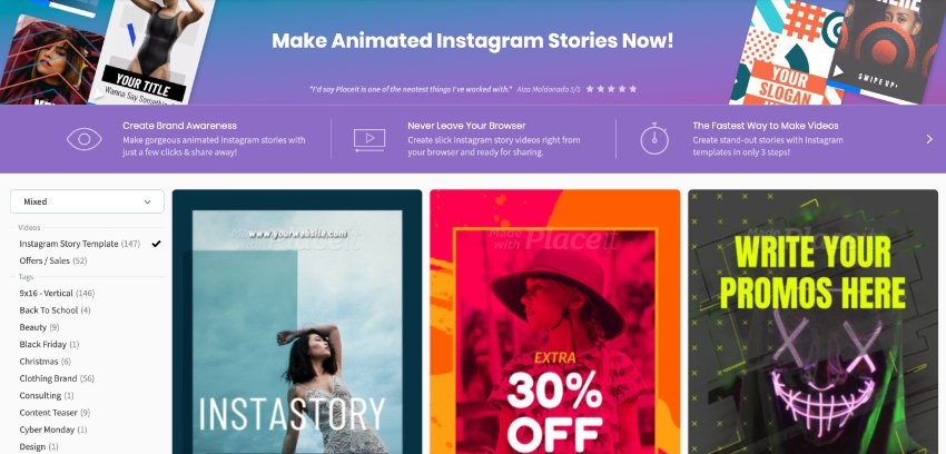 PlaceIt Instagram Stories Maker selection screen