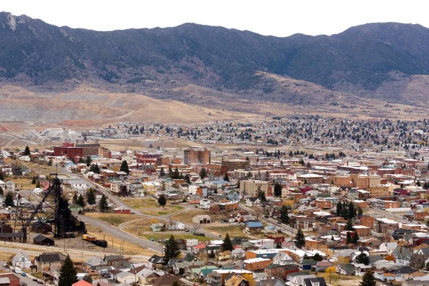 High-angle overlook of Butte Montana