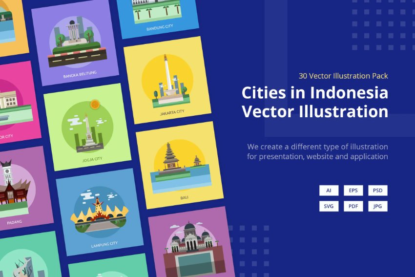 Example of Indonesian Cities illustrations
