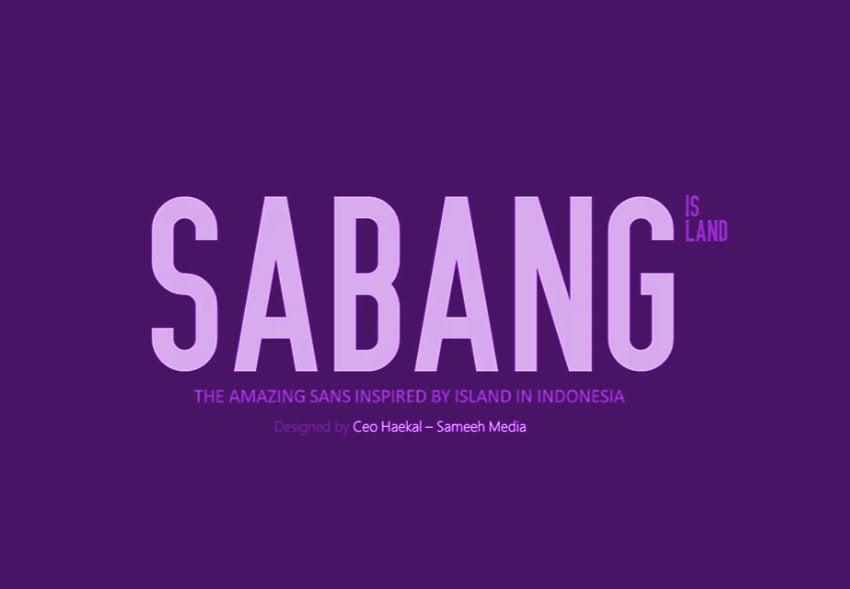 Sabang typeface example