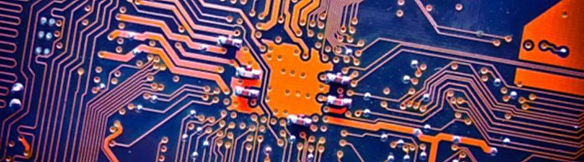 bBlue and orance circuit board